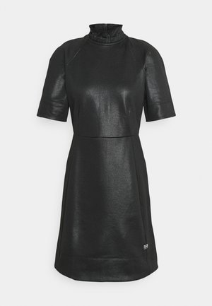 GLOSSY HIGH COLLAR DRESS - Denní šaty - dark black