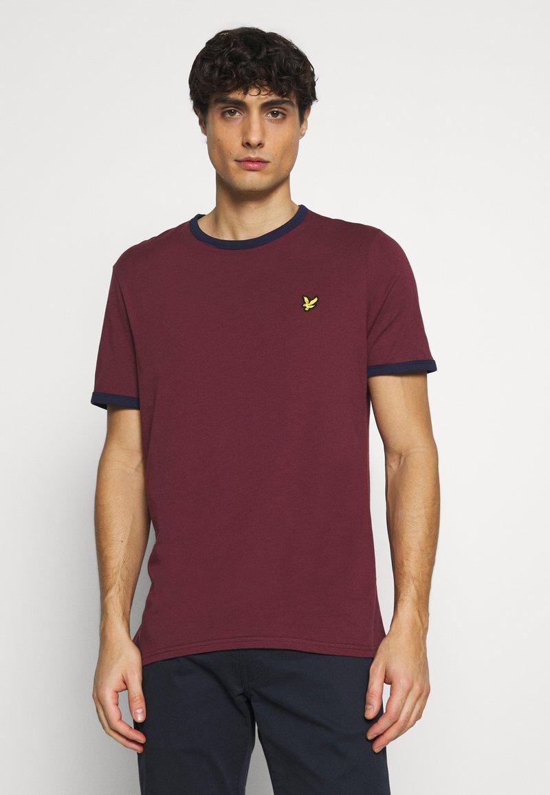 Lyle & Scott - RINGER  - Basic T-shirt - merlot/navy