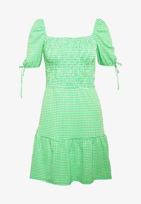 Topshop - GINGHAM SHIRRED TEA DRESS - Robe d'été - green - 3