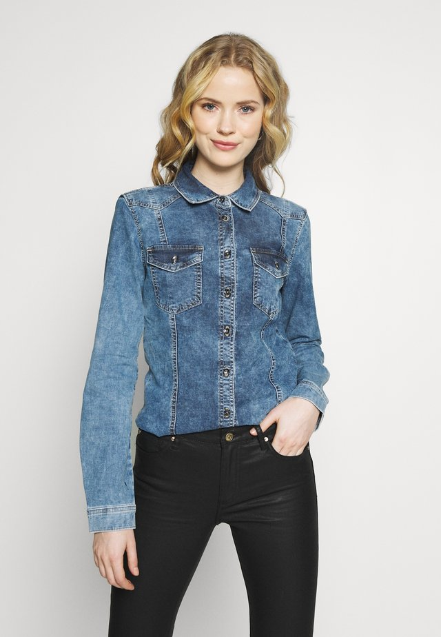 Button-down blouse - indigo denim