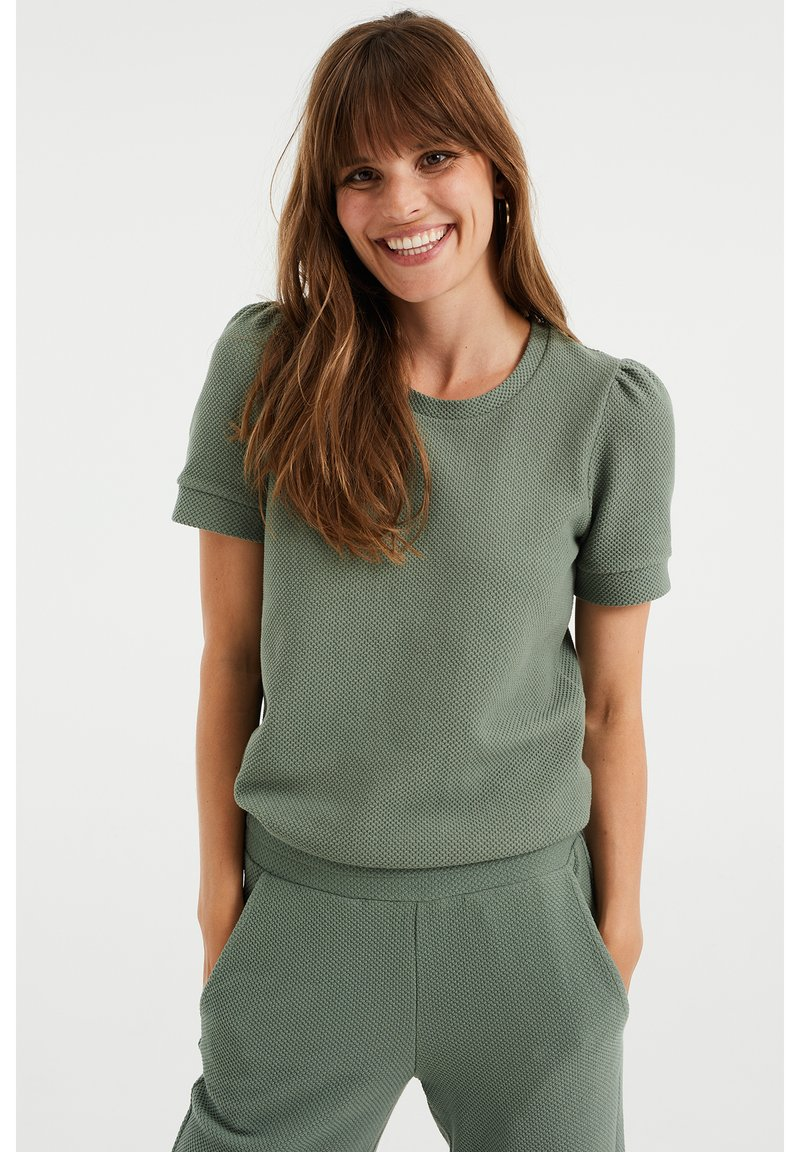 WE Fashion - MET STRUCTUUR - Basic T-shirt - light green