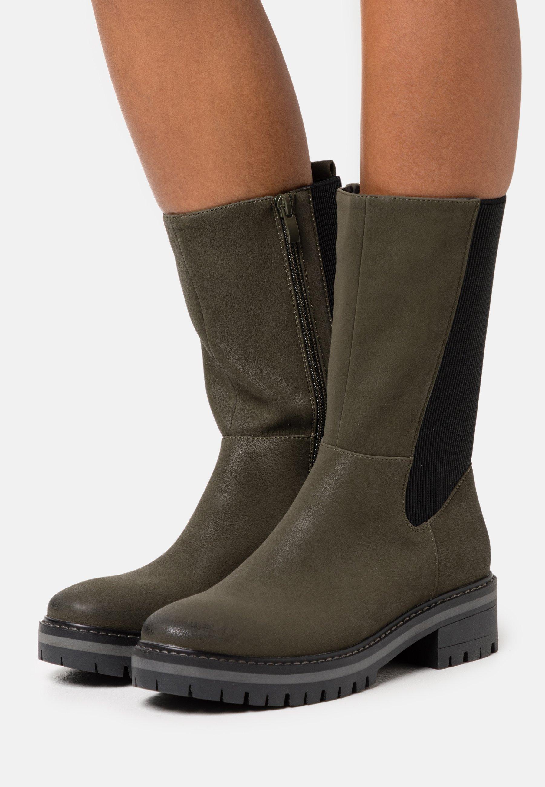 Women Platform boots - dark green