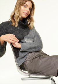 comma casual identity - MIT METALLIC-EFFEKT - A-line skirt - dark grey - 3
