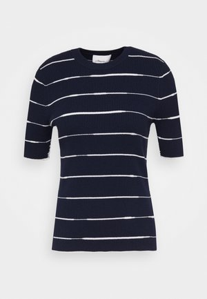 STRIPED - Print T-shirt - navy/white