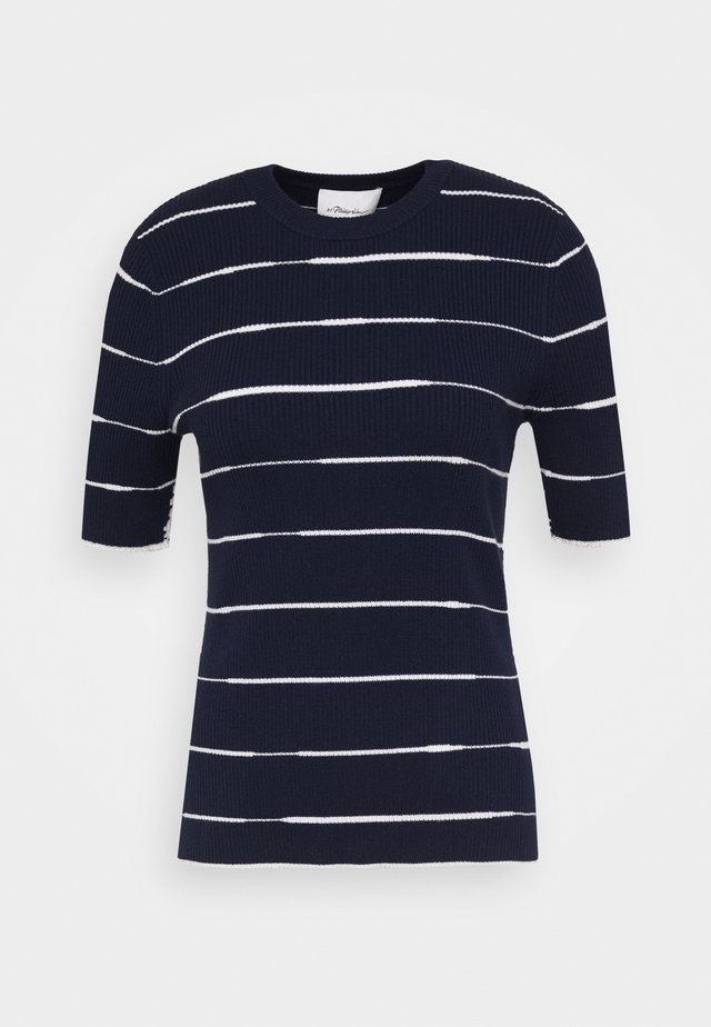 STRIPED - Printtipaita - navy/white