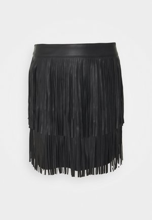 ONLINDIE FRINGE SKIRT - Mini skirt - black