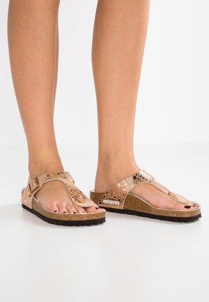 GIZEH - T-bar sandals - metallic stones/copper