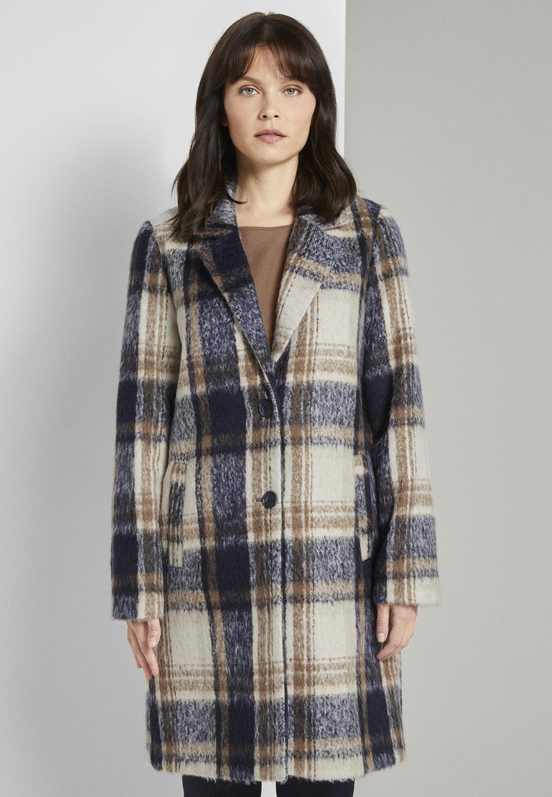 TOM TAILOR - EASY PLAID  - Classic coat - navy/sand