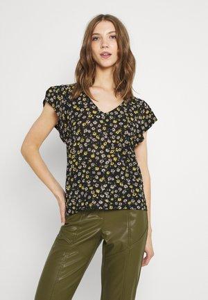 JDYGITTE SVANS V NECK - Camiseta estampada - black/yellow