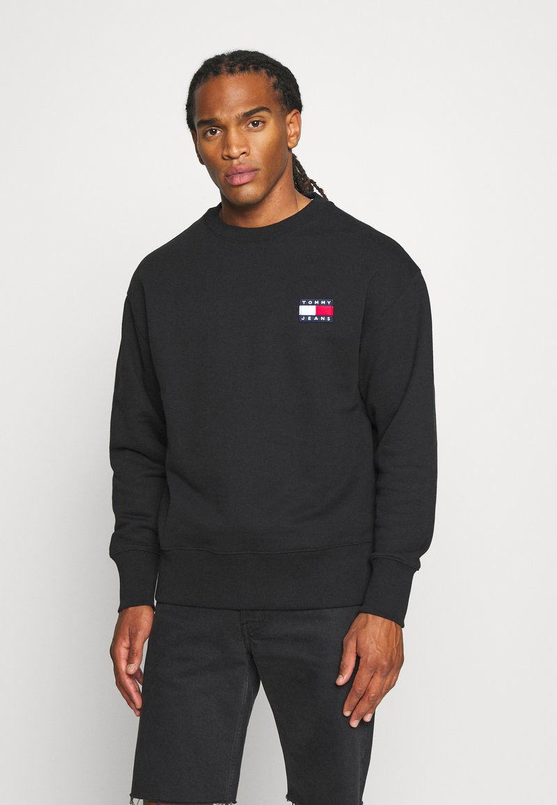 Tommy Jeans - BADGE CREW UNISEX - Felpa - black