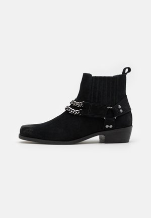 LEATHER UNISEX - Cowboy/biker ankle boot - black