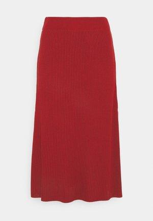 KNITTED MIDI SKIRT - Pencil skirt - scarlet red