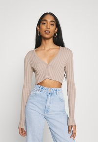 Monki - DORIS CROPPED CARDIGAN - Cardigan - mole dusty light - 0