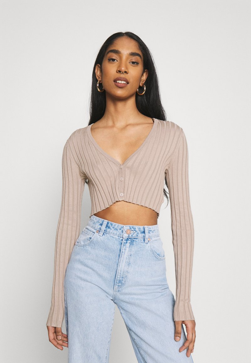 Monki - DORIS CROPPED CARDIGAN - Cardigan - mole dusty light
