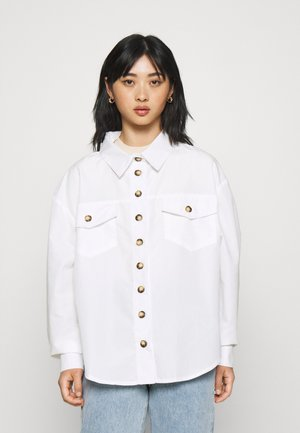 CONTRAST DOUBLE BUTTON POCKET SHIRT - Overhemdblouse - white