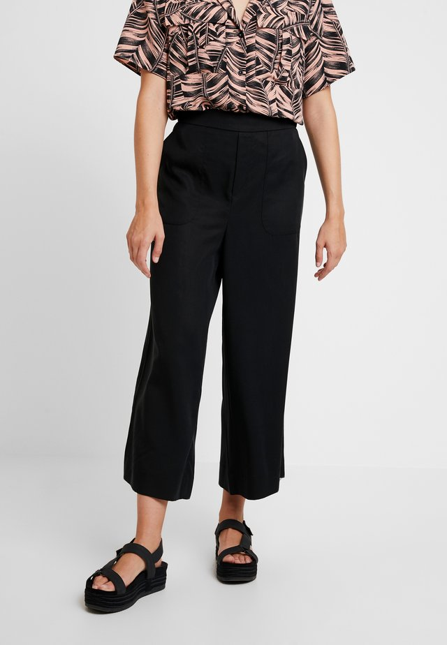 WIDE LEG CROP PULL ON - Trousers - black