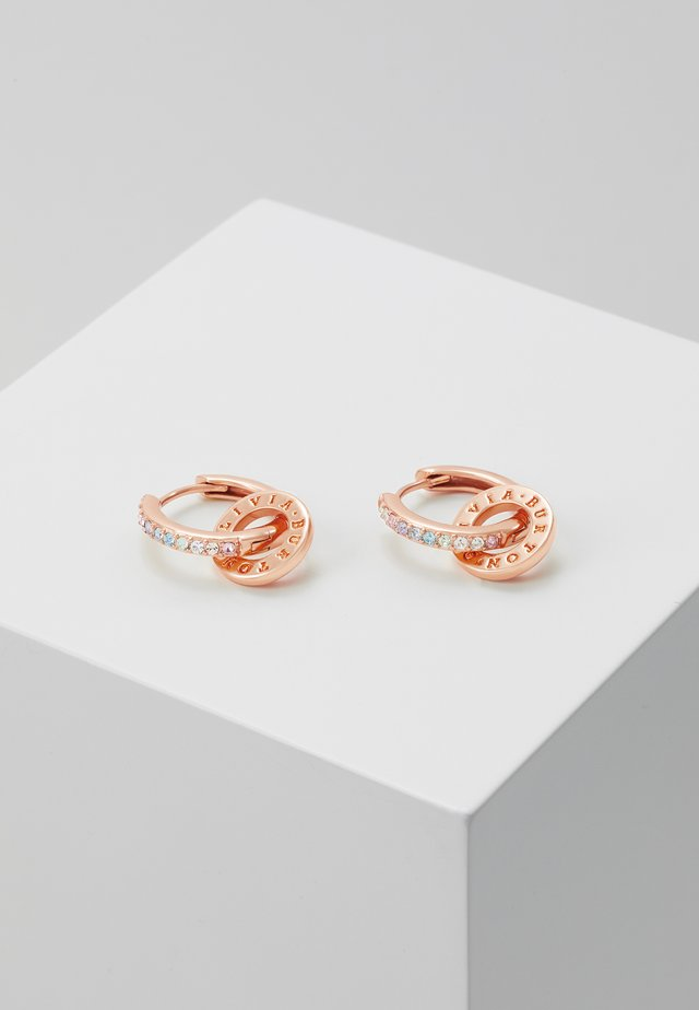 RAINBOW INTERLINK HUGGIE HOOPS - Earrings - rose gold-coloured