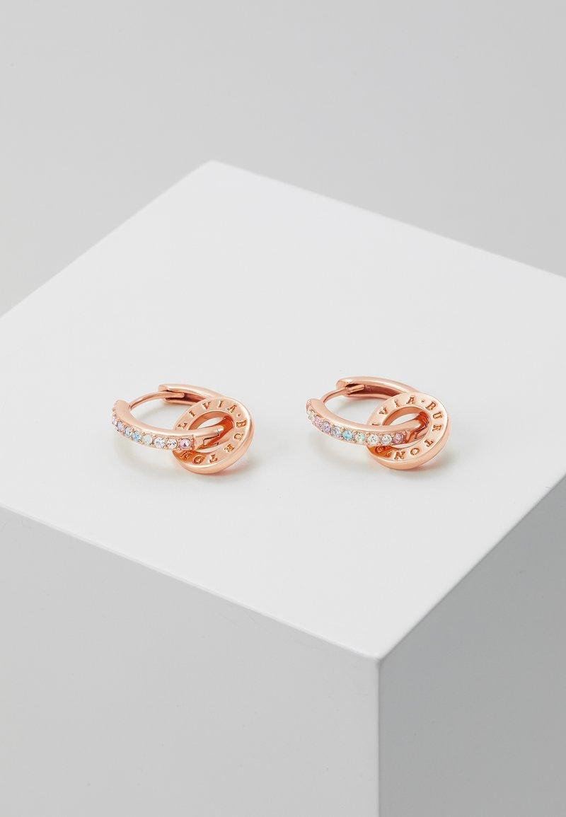 Olivia Burton - RAINBOW INTERLINK HUGGIE HOOPS - Earrings - rose gold-coloured