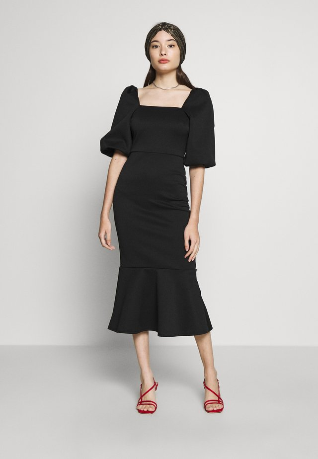 SQUARE NECK PUFF SLEEVE MIDII DRESS WITH PEPHEM - Juhlamekko - solid black