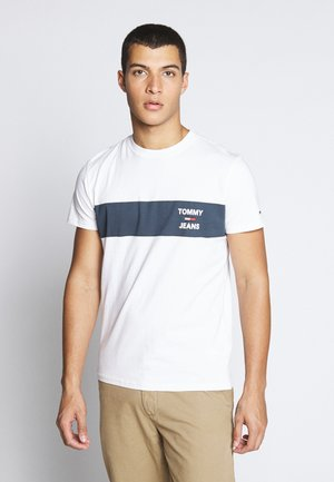 CHEST STRIPE LOGO - T-shirt z nadrukiem - white