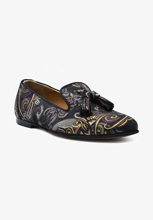 Loaferit/pistokkaat - black burgundy paisley