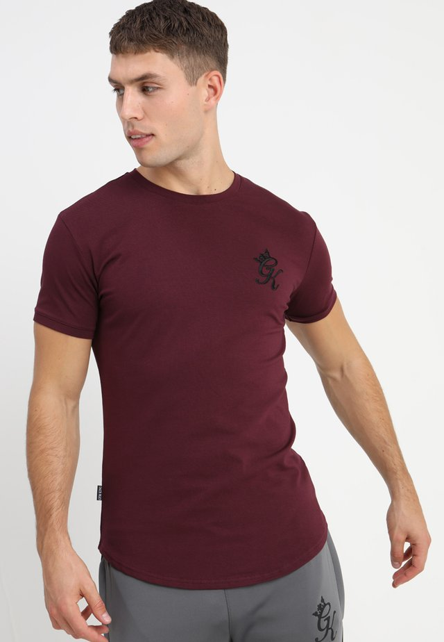 LONG LINE CURVE TEE - Camiseta estampada - wine