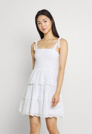 SMOCKED TIERED MINI - Day dress - white