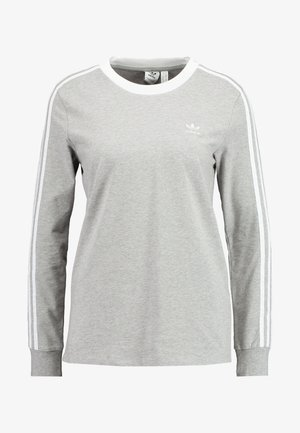 Topper langermet - medium grey heather/white