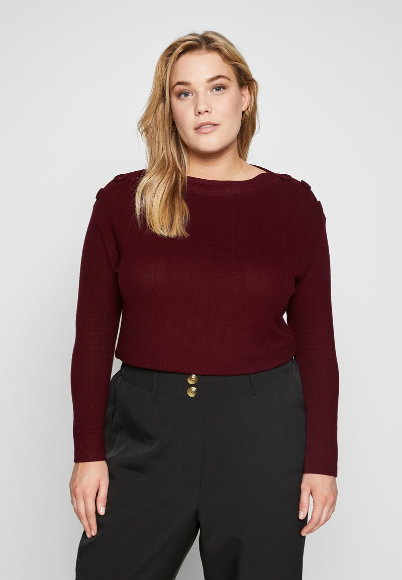 Evans - SOFT TOUCH BUTTON NECK - Jumper - berry