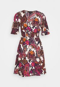 Dorothy Perkins - SHEERED WAIST PAISLEY PRINT WOVEN MINI - Korte jurk - white - 0