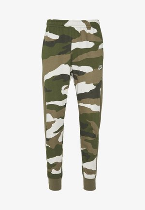 CLUB CAMO - Tracksuit bottoms - medium olive/summit white