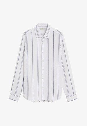SLIM FIT-LEINENHEMD MIT KAROMUSTER TAMI  - Shirt - weiß