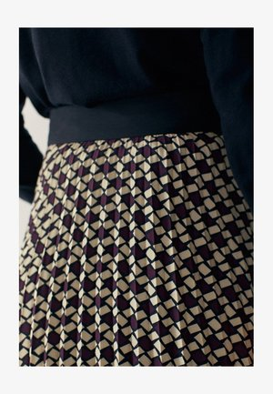 MIT GEOMETRISCHEM PRINT  - Pleated skirt - bordeaux