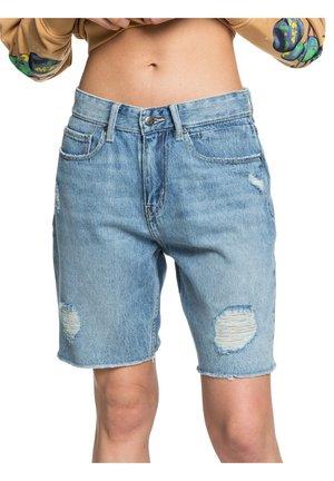 BAGGY - Denim shorts - blue rip
