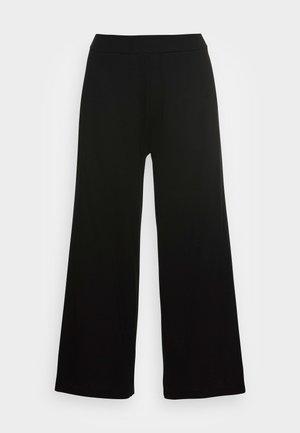 CULOTTE CROPPED LENGTH ELASTIC WAISTBAND AT BACK - Teplákové kalhoty - black