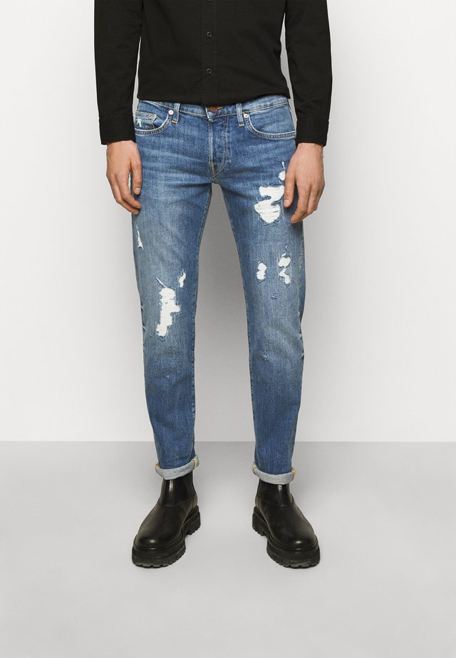 ROCCO DESTROYED - Jeans a sigaretta - blue denim