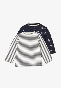 s.Oliver - 2ER PACK - Long sleeved top - blue daisies/offwhite stripes - 0