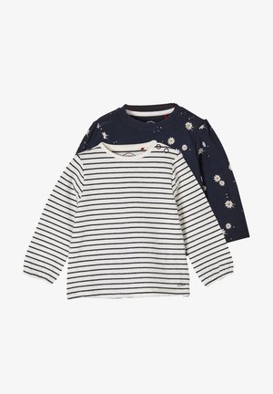 2ER PACK - Long sleeved top - blue daisies/offwhite stripes