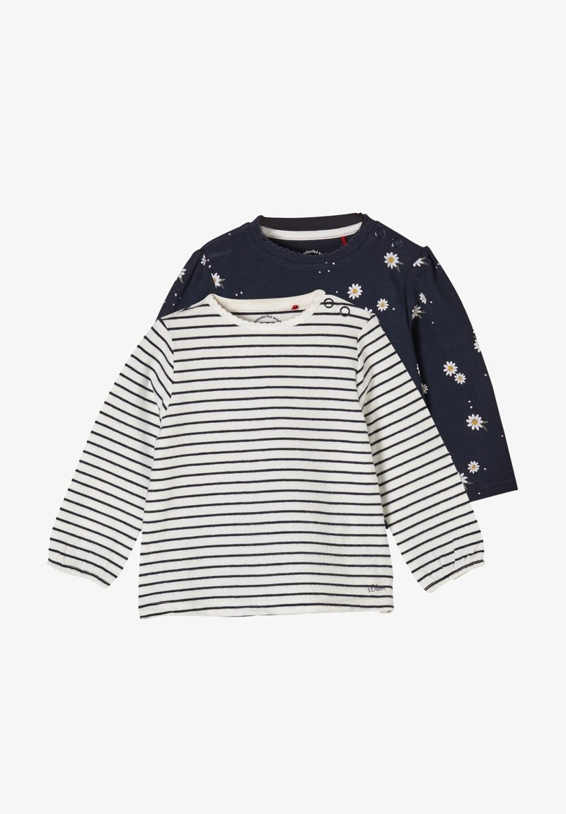 s.Oliver - 2ER PACK - Long sleeved top - blue daisies/offwhite stripes