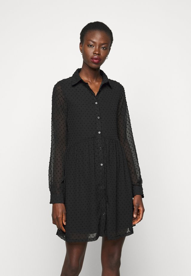 DOBBY SPOT SMOCK DRESS - Skjortekjole - black