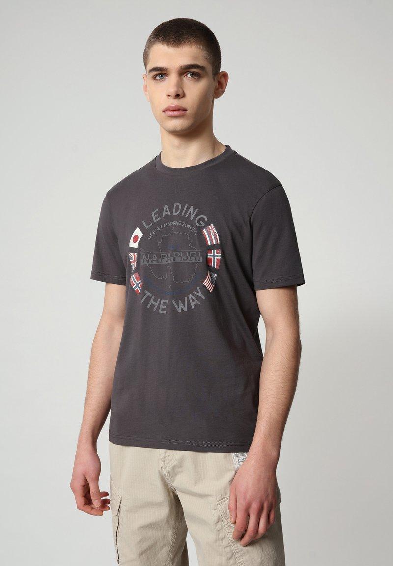 Napapijri - SALYA - Print T-shirt - dark grey solid