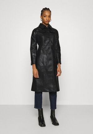 BUTTON FRONT 70S COAT - Mantel - black