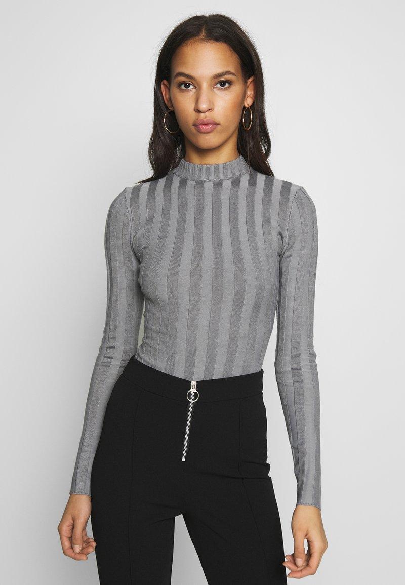Missguided - EXTREME CREW NECK BODYSUIT - Stickad tröja - grey