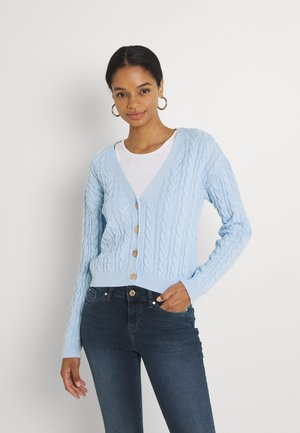 CROPPED CABLE CARDIGAN - Vest - blue