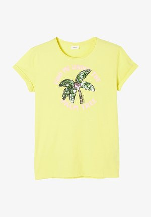 MIT PAILLETTEN-MOTIV - Print T-shirt - yellow