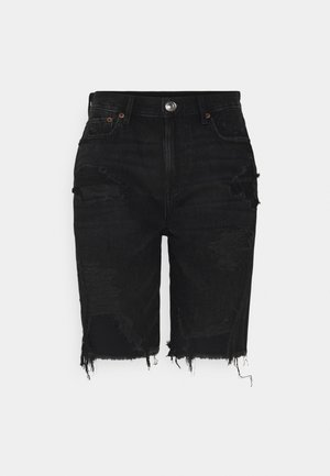 BERMUDA - Denim shorts - destroyed black