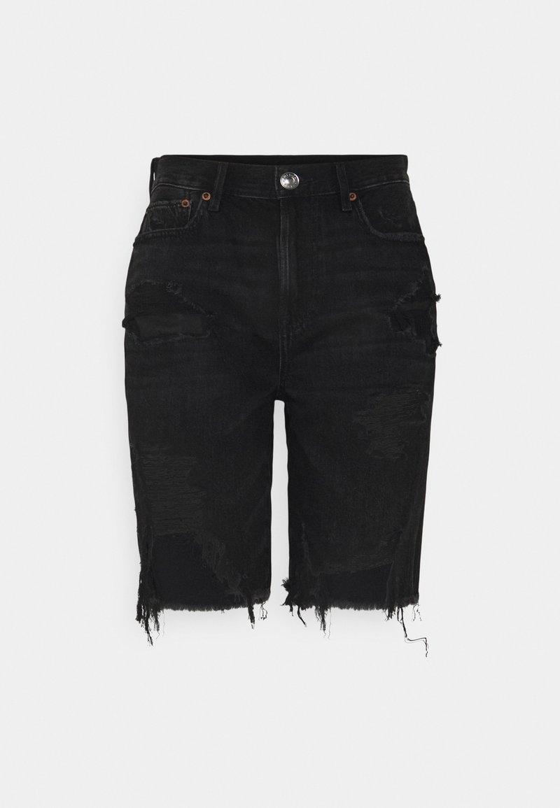 American Eagle - BERMUDA - Shorts di jeans - destroyed black