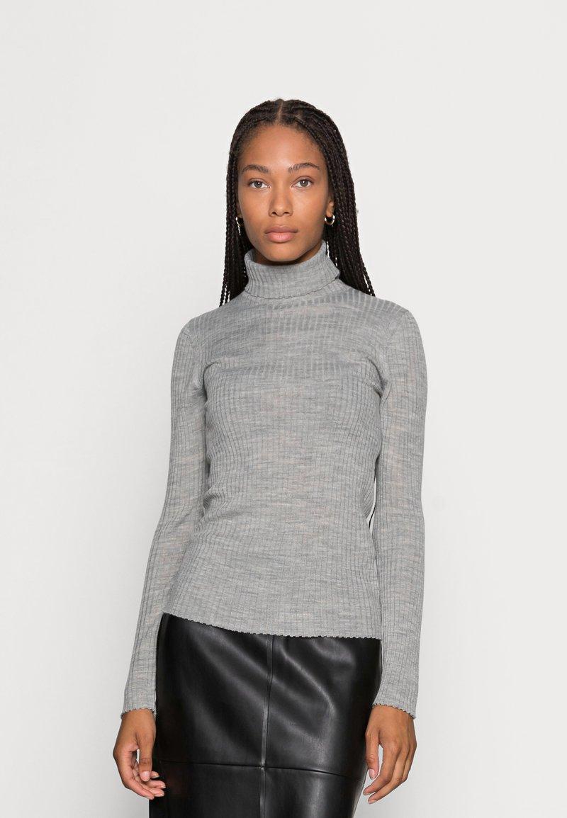 Selected Femme - SLFCOSTINA ROLLNECK - Jumper - light grey melange