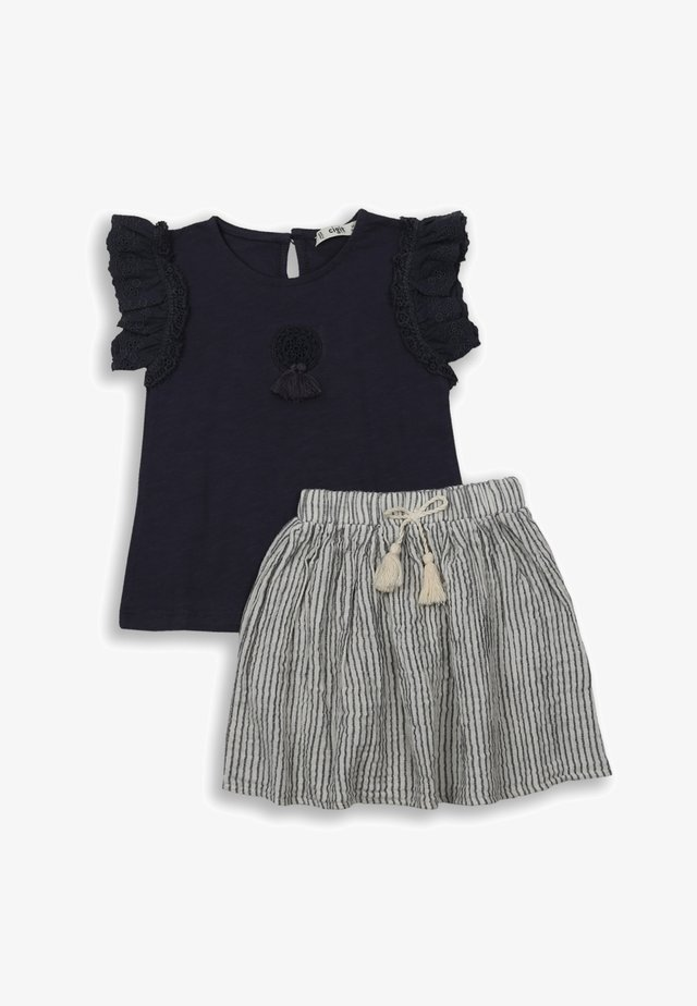 T-SHIRT AND  MUSLIN SKIRT SET - Minisukně - anthracite