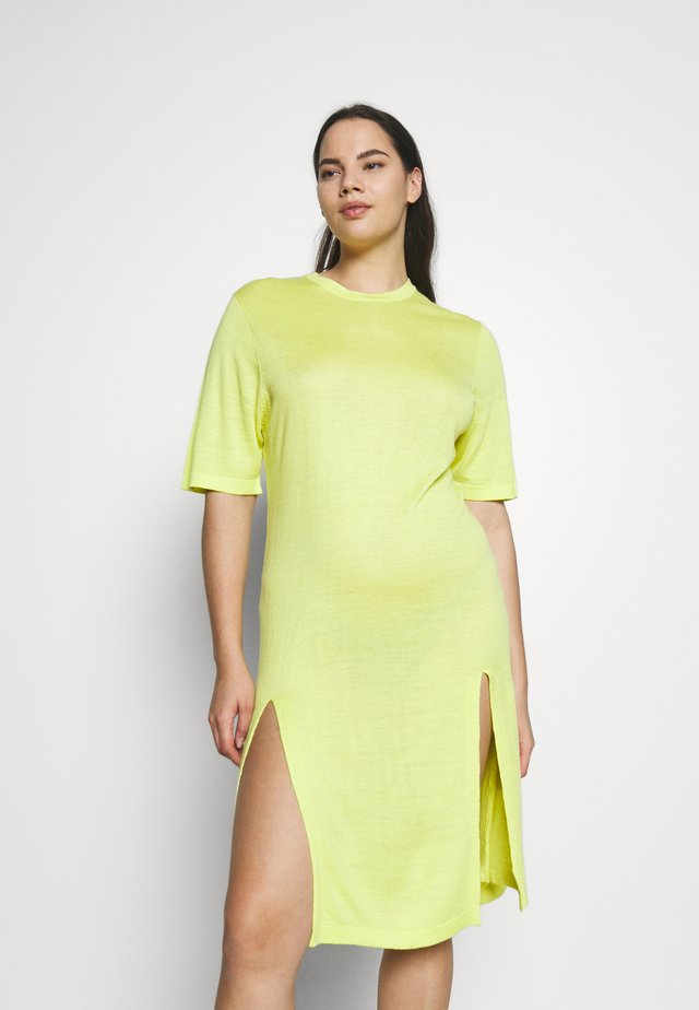 SIDE SPLIT MAXI - Strikket kjole - lime zest